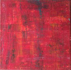 Abstrakt auf Leinwand 20x20x15 cm rotes Bild von AtelierMaltopf, $34.00