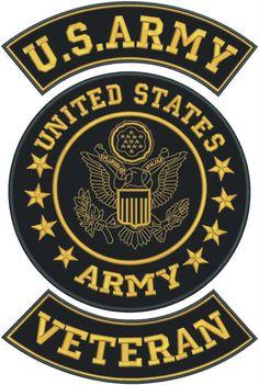 U.S.Army Veteran Golden on Black Iron on Patches Set for Biker Vest