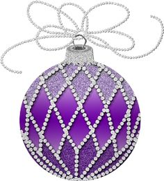 Hand Blown Glass Christmas Ornament Clear Purple White Stripes