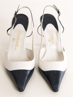 Vintage Chanel Slingback Pumps in White and Navy