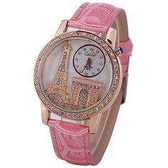 Quartz Watch with Diamonds Analog Indicate PU Leather Watch Band Tower Pattern for Women - PINK Stylish Watches, Cool Watches, Leather Watch Bands, Beautiful Watches, Stainless Steel Bracelet, Quartz Watch, Pu Leather, Tower, Diamonds