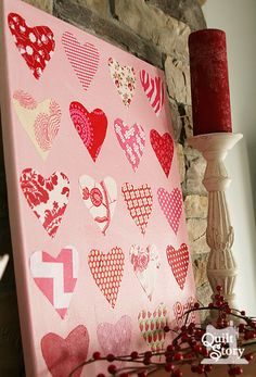Valentine canvas tutorial scrap buster ~ Quilt Story