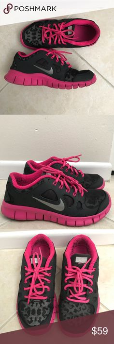 01c25597948 Nike Free Pink   gray cheetah print Nike Free size equivalent to a womens  Great condition besides the black fuzz inside from wearing black socks.