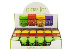"""Circle Design Glass Jar Countertop Display, 24 - Store your favorite sweetener, spices and more in this Circle Design Glass Jar featuring a small glass jar with a colorful metal circle design cover, screw-on plastic shaker cap and matching metal lid. Each jar measures approximately 2.25"""" tall and 2"""" in diameter. Comes in assorted colors. Countertop display comes with 24 pieces.-Colors: transparent,yellow,green,red,purple. Material: glass,metal,plastic. Weight: 0.2547/unit"""