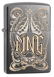 28798-000003-Z Fit for a King. Two tone laser engraving adds appealing contrast to the intricate crown-like design which incorporates a skull and crossbones. Comes packaged in an environmentally friendly gift box. For optimal performance, use with Zippo premium lighter fluid.
