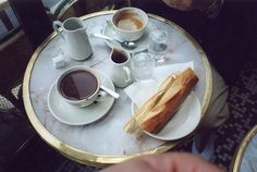 cappuccino and baguette// by pieplate