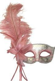 Light Pink and Silver Venetian Masquerade Mask on a Stick with a Large Ostrich Feather - Mask Making - Face Mask - Masquerade Mask - Mask Homemade Mens Masquerade Mask, Venetian Masquerade Masks, Masquerade Ball, Masquerade Party Themes, Masquerade Wedding, Masquerade Centerpieces, Japanese Fox Mask, Venitian Mask, Mask Face Paint