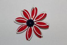 Vintage Red White Blue enamel Flower Brooch by purrfectstitchers, $8.00