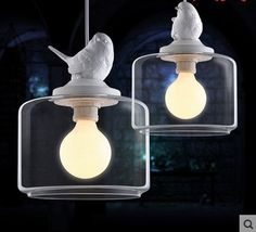 61.70$  Watch now - http://aliemw.worldwells.pw/go.php?t=32361592502 - Bird Shaped LED Modern Lighting Pendant Lights Handing Lamp With Glass Lampshade For Dinning Room Pendente De Teto Luz
