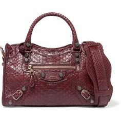 Balenciaga City mini python and leather shoulder bag (£1,495) ❤ liked on Polyvore featuring bags, handbags, shoulder bags, red leather purse, leather handbags, leather tote, red leather tote and burgundy leather tote