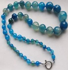 Amazing Beads - (6mm-14mm) Multi-Blue Faceted Genuine Agate Gemstone Necklace sold as a 45cm strand, $24.00 (http://www.amazingbeads.com/products/6mm-14mm-multi-blue-faceted-genuine-agate-gemstone-necklace-sold-as-a-45cm-strand.html)