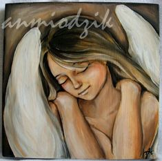 Anioł utulenia angel acrylic painting on wood