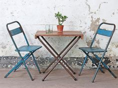 View our Vintage Bistro Table from the collection Repurposed Furniture, Vintage Furniture, Folding Chair, Interior Accessories, Sweet Home, Antiques, Garden, Table, Collection