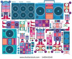 robot boom box tape music vector pattern wallpaper - stock vector