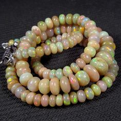 54 cts 17 5 4mm 7mm Natural Real Ethiopian Fire Opal Gemstones Beads Necklace   eBay
