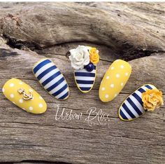 Nautical nails yellow and blue
