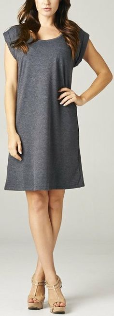 Easy Tee Shift Dress in Charcoal