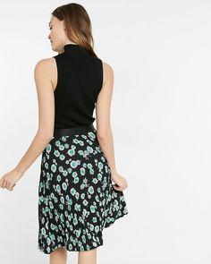 high waisted floral pleated midi skirt