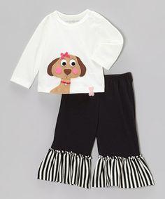 Off-White Dog Tee & Black Ruffle Pants - Infant, Toddler & Girls