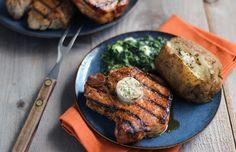 Dry Rubbed Porterhouse Pork Chops with Steakhouse Butter - Pork Recipes - Pork Be Inspired