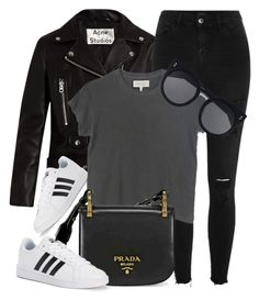 """""""Milan"""" by monmondefou ❤ liked on Polyvore featuring Acne Studios, River Island, adidas, The Great, STELLA McCARTNEY, Prada and black"""
