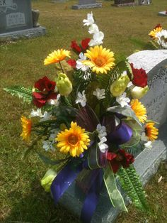 Cemetery vase arrangement