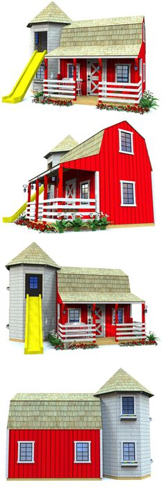 The Red Barn and Silo playhouse features two levels, along with a front porch and a 2 level silo with an exit for a slide. Cute barn details all throughout make this quite a charming shelter for any child. Download the plans at paulsplayhouses.com #buildplayhouses #kidsoutdoorplayhouse