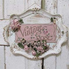 awesome Ornate platter hand painted sign wall hanging shabby cottage chic 'Vintage Rose' roses and millinery flowers home decor anita spero design by http://www.best99-home-decor-pics.club/romantic-home-decor/ornate-platter-hand-painted-sign-wall-hanging-shabby-cottage-chic-vintage-rose-roses-and-millinery-flowers-home-decor-anita-spero-design/