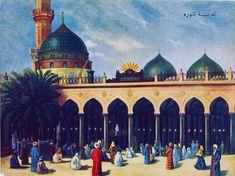 Postcard of Medina Munawara, Al-Masjid al-Nabawi, 1900s