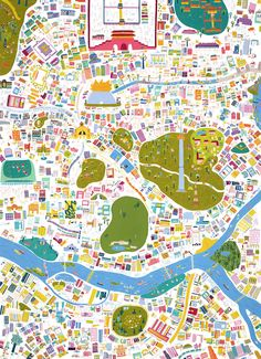 Map of Seoul by Min Heo Graphic Design Illustration, Illustration Art, Seoul Map, The Rok, Village Map, Tourist Map, Cool Posters, Travel Posters, Map Design