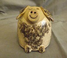 studio pottery winking pig