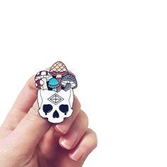 Mushroom Skull Pin
