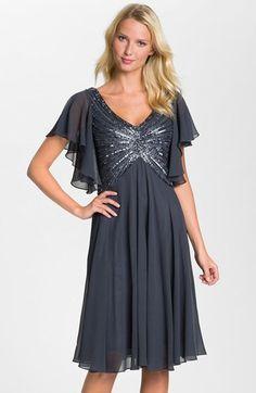 Womens J Kara V-Neck Sequin Bodice Dress Size 16 - Grey $132.66 AT vintagedancer.com