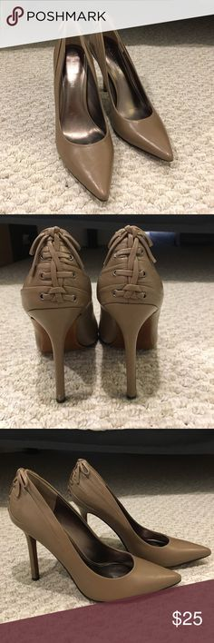 "Taupe Enzo Angiolini Heels with Lace Up Bow Back Taupe Heels with leather upper and Lace Up bow back detail on heel. Heel is 4.5"" tall. Shoes have been worn a couple of times and show a little wear on the inside soles (see pic). Enzo Angiolini Shoes Heels"