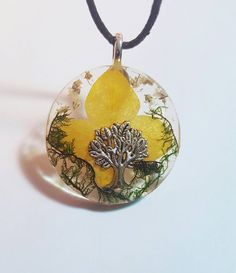 Tree Charm Real Yellow Flowers Green Moss Nature Pendant Resin Necklace Bohemian Jewelry  https://www.etsy.com/listing/269449750/tree-charm-real-yellow-white-flowers