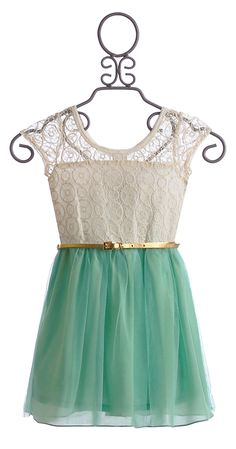 Truly Me Girls Party Dress in Lace and Mint Chiffon