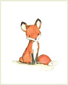 A little fox sits quietly, waiting patiently for...you? - art print from an original watercolor, gouache, and acrylic painting by Kit Chase. - archival matte paper and ink - vertical print - ships wor