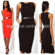free shipping 2014 New Europe and America Women's Fashion OL Slim Metal Belt Pencil Dress Spring/Summer Bodycon