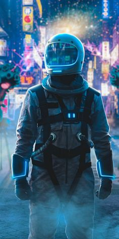 Astronaut Alone In Neon City In Resolution Galaxy Wallpaper, Cool Wallpaper, Mayor Tom, Astronaut Wallpaper, Space Artwork, Space Drawings, Space Illustration, Astronauts In Space, Space And Astronomy