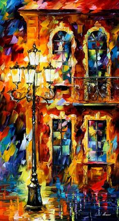 "OLD LIGHT — PALETTE KNIFE Oil Painting On Canvas By Leonid Afremov - Size 20""x36"""