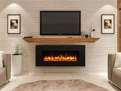 Newest Photographs Electric Fireplace design Tips Kreiner Wall Mounted Flat Panel Electric Fireplace Wall Mounted Fireplace, Linear Fireplace, Home Fireplace, Faux Fireplace, Fireplace Inserts, Living Room With Fireplace, Fireplace Design, Tv Stand With Fireplace, Basement Fireplace
