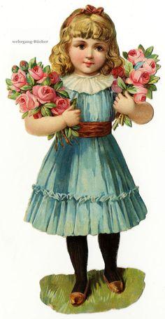 Vintage Victorian die cut paper scrap, Girl with Roses (large), c. 1876