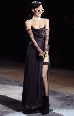Rihanna in an Adam Selman corset and skirt at the 2012 Victoria's Secret Fashion Show