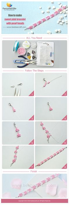 #Beebeecraft show u how to make sweet #pinkbracelet with #pearlbeads