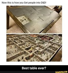Now this is how you Get people into D&D! Best table ever? - Best table ever? Dnd Funny, Stupid Funny Memes, Funny Relatable Memes, Dungeons And Dragons Miniatures, Dungeons And Dragons Memes, Dnd Stories, Funny Images, Funny Pictures, Dungeon Master's Guide