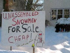 Winter Wonderland - Funny Unassembled Snowmen For Sale Sign