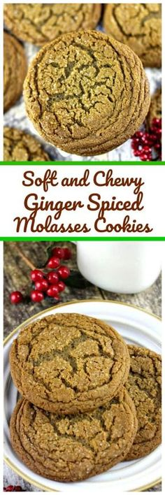 Soft and Chewy Ginger Spiced Molasses Cookies Soft and Chewy Ginger Spiced Molasses Cookies are exactly what the holidays constitute with freshly bold spices of ground w. Molasses Cookies, Spice Cookies, Cookies Soft, Yummy Cookies, Cookies Et Biscuits, Almond Cookies, Cookie Bars, Cookie Desserts, Just Desserts