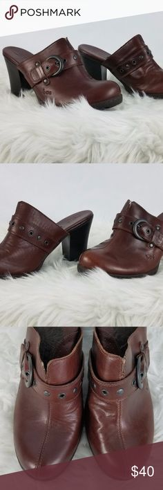 """BOC Women's Clogs Mules Size 9  Buckle  Brown  Slip-On  Monk Strap  Leather  Casual Heels-3.5"""" Insole measures 9"""" Ball of shoe width 3.25"""" Smoke-free home Item #SHOES36 BOC Shoes Mules & Clogs"""