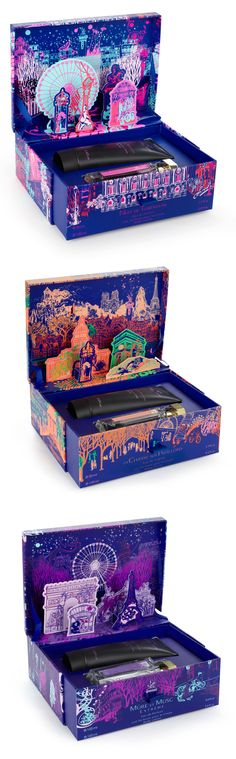 L'Artisan Parfumeur La Chasse Aux Papillons Gift Set by Sephora  Innovative Packaging.  I like how much visual decoration and appeal this has with the colors, the illustrations, and the use of the pop up Parisian buildings once you open the box. This box even has a second life to it where you can store your jewels, makeups and personal belongings. It almost reminds me of a ballerina box.