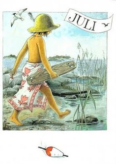 Serie of 12 postcards by Swedish illustrator Lena Anderson, featuring the main character Linnea. Vintage Pictures, Vintage Images, 4th Of July Images, Edith Holden, Elsa Beskow, Hello July, Grand Tour, Months In A Year, 12 Months